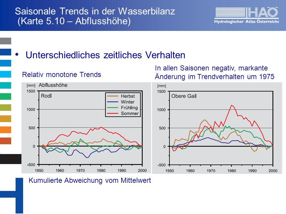 Saisonale Trends in der Wasserbilanz (Karte 5.10 – Abflusshöhe)
