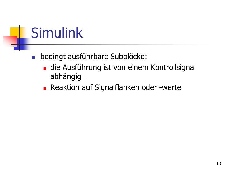 Simulink bedingt ausführbare Subblöcke: