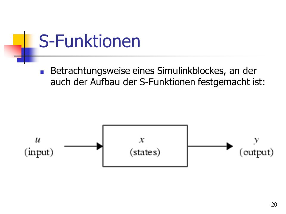 S-Funktionen Betrachtungsweise eines Simulinkblockes, an der auch der Aufbau der S-Funktionen festgemacht ist: