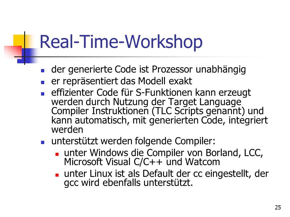 Real-Time-Workshop der generierte Code ist Prozessor unabhängig