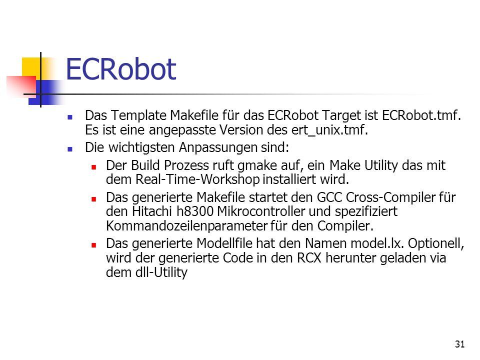 ECRobot Das Template Makefile für das ECRobot Target ist ECRobot.tmf. Es ist eine angepasste Version des ert_unix.tmf.