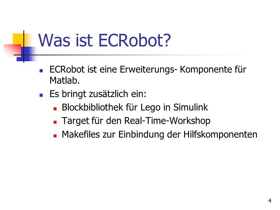 Was ist ECRobot ECRobot ist eine Erweiterungs- Komponente für Matlab.