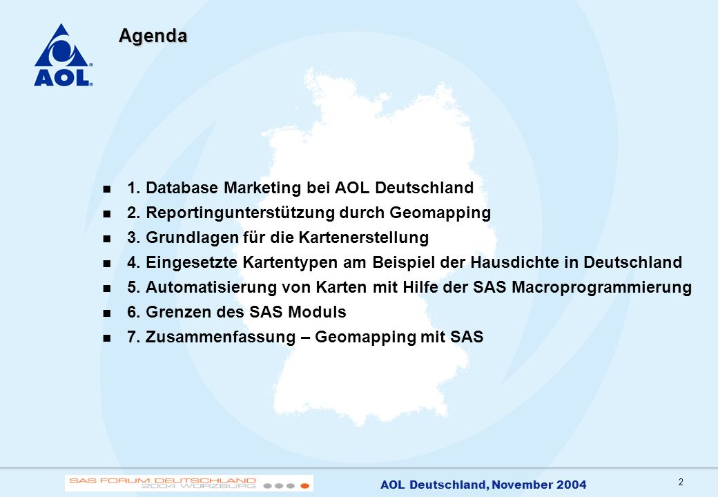 Agenda 1. Database Marketing bei AOL Deutschland