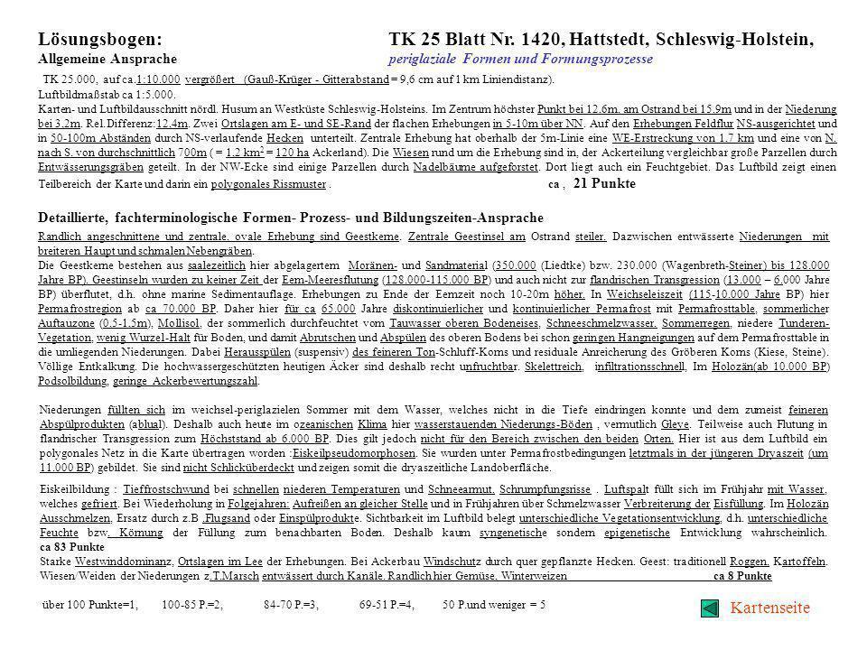 Lösungsbogen: TK 25 Blatt Nr. 1420, Hattstedt, Schleswig-Holstein,