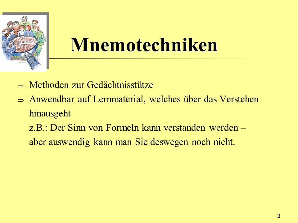 Mnemotechniken Methoden zur Gedächtnisstütze