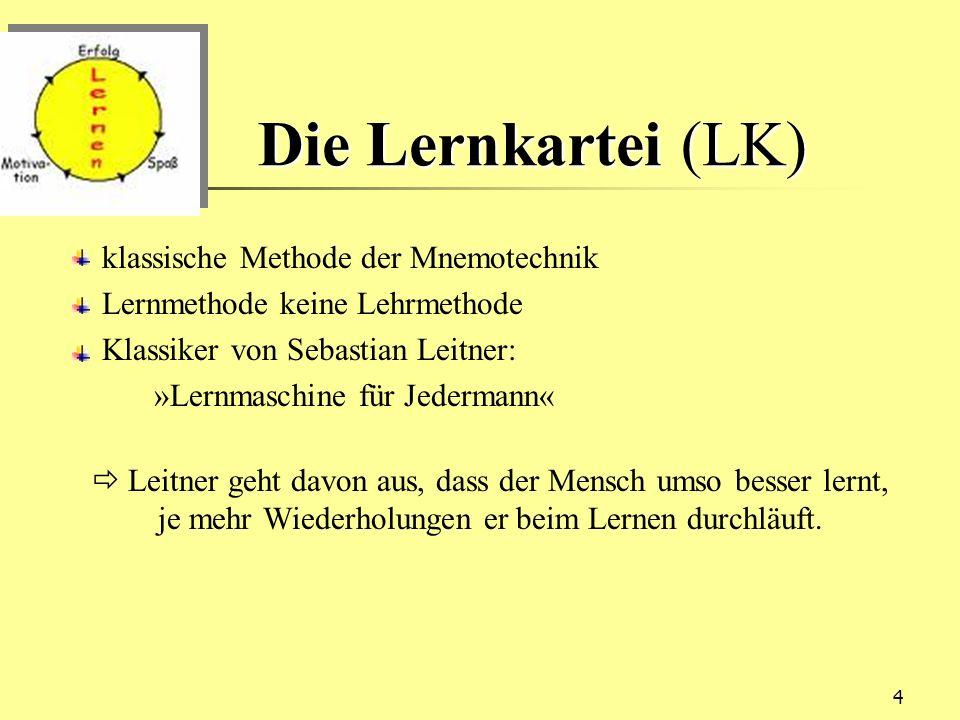 Die Lernkartei (LK) klassische Methode der Mnemotechnik