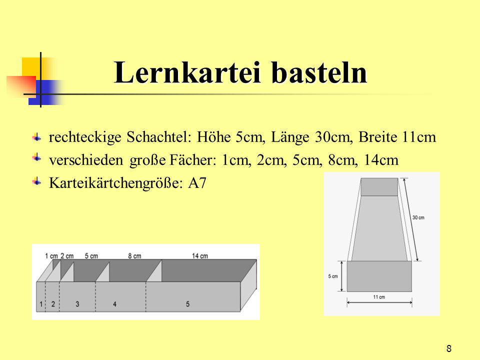 Lernkartei bastelnrechteckige Schachtel: Höhe 5cm, Länge 30cm, Breite 11cm. verschieden große Fächer: 1cm, 2cm, 5cm, 8cm, 14cm.