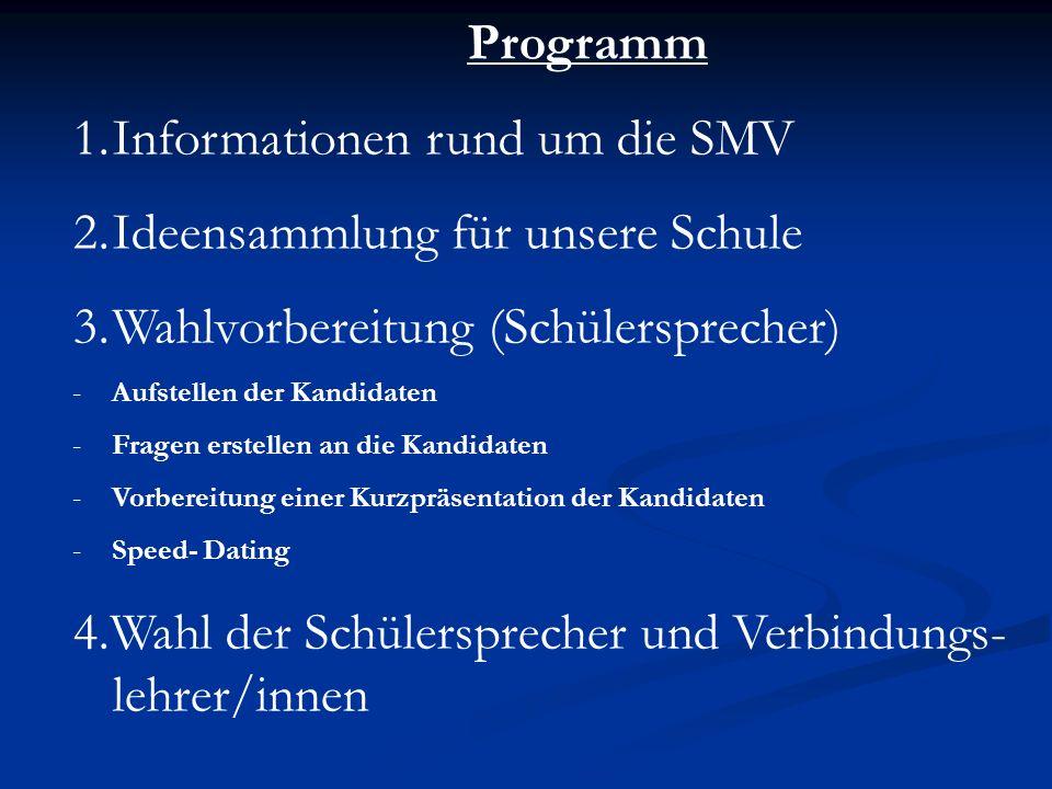 Informationen rund um die SMV Ideensammlung für unsere Schule