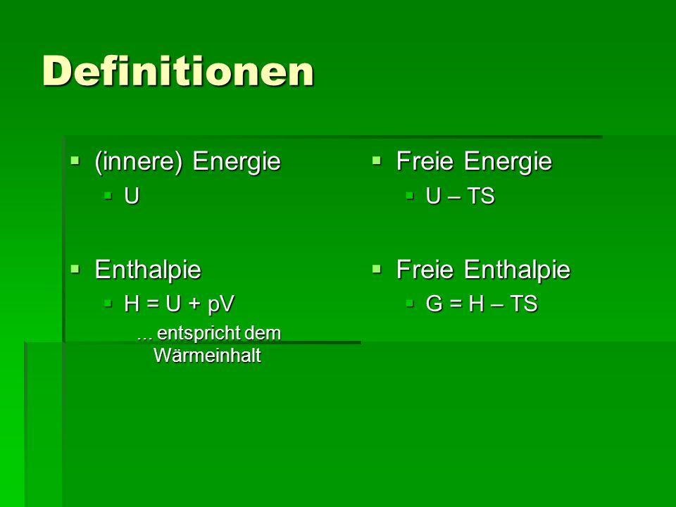 Definitionen (innere) Energie Enthalpie Freie Energie Freie Enthalpie