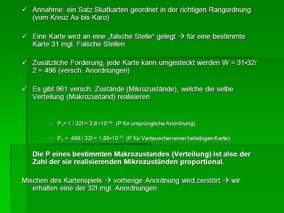 Annahme: ein Satz Skatkarten geordnet in der richtigen Rangordnung (vom Kreuz As bis Karo)