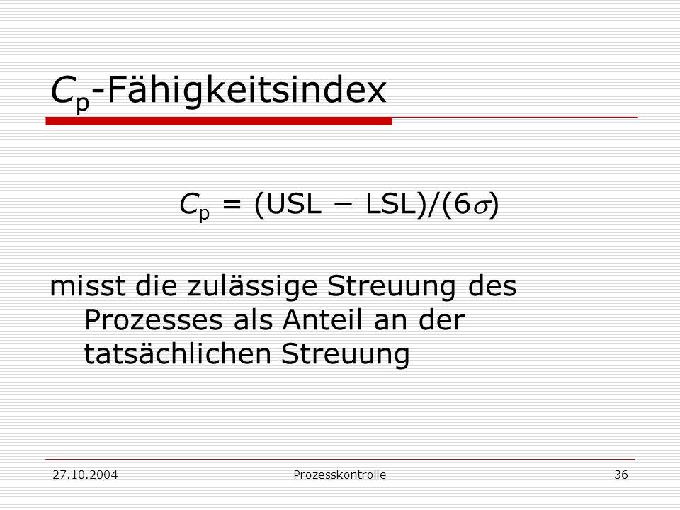 Cp-Fähigkeitsindex Cp = (USL − LSL)/(6s)