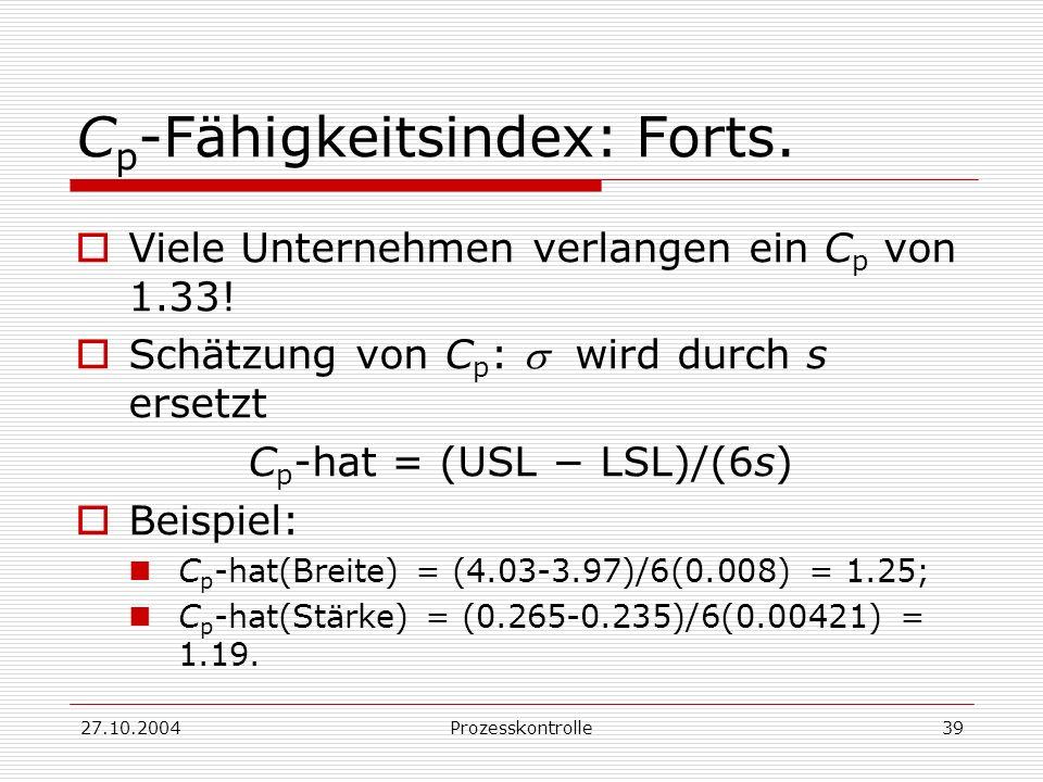 Cp-Fähigkeitsindex: Forts.