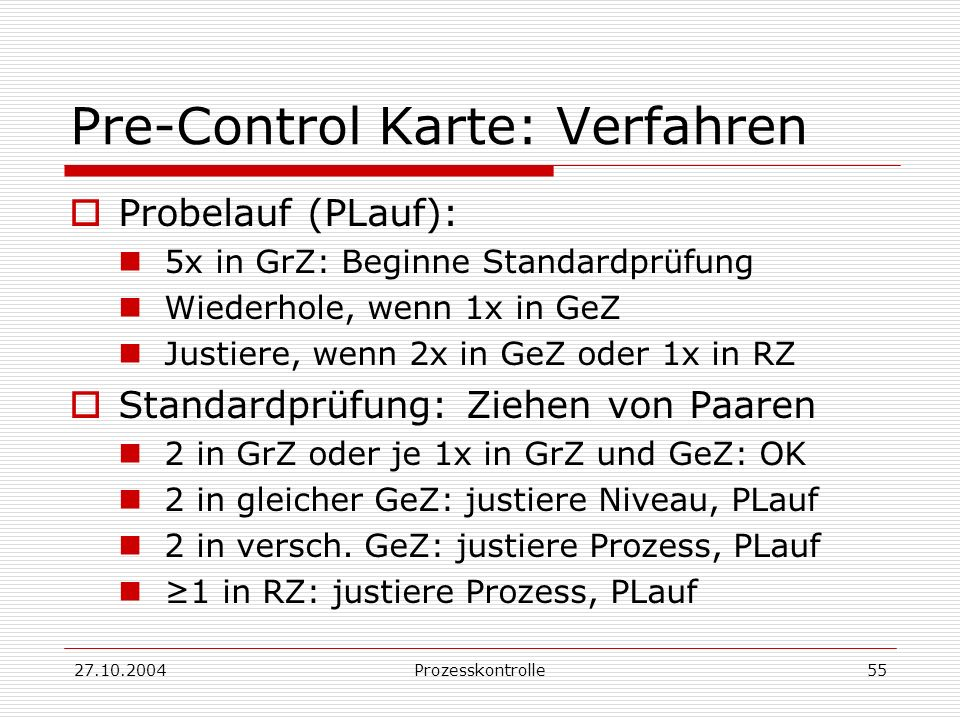 Pre-Control Karte: Verfahren