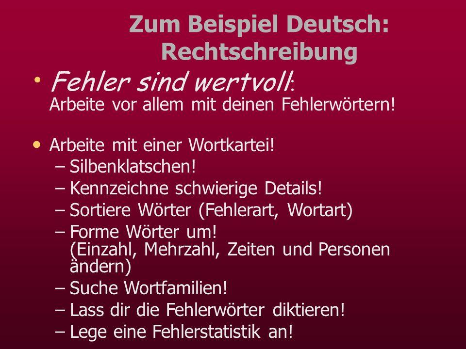 Zum Beispiel Deutsch: Rechtschreibung