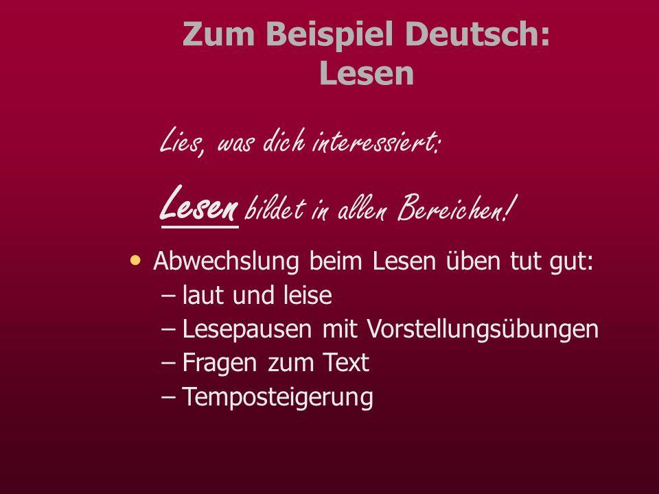 Zum Beispiel Deutsch: Lesen