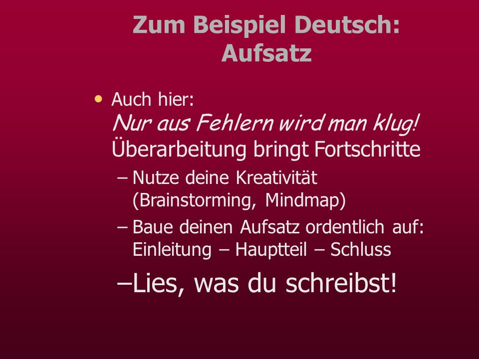 Zum Beispiel Deutsch: Aufsatz
