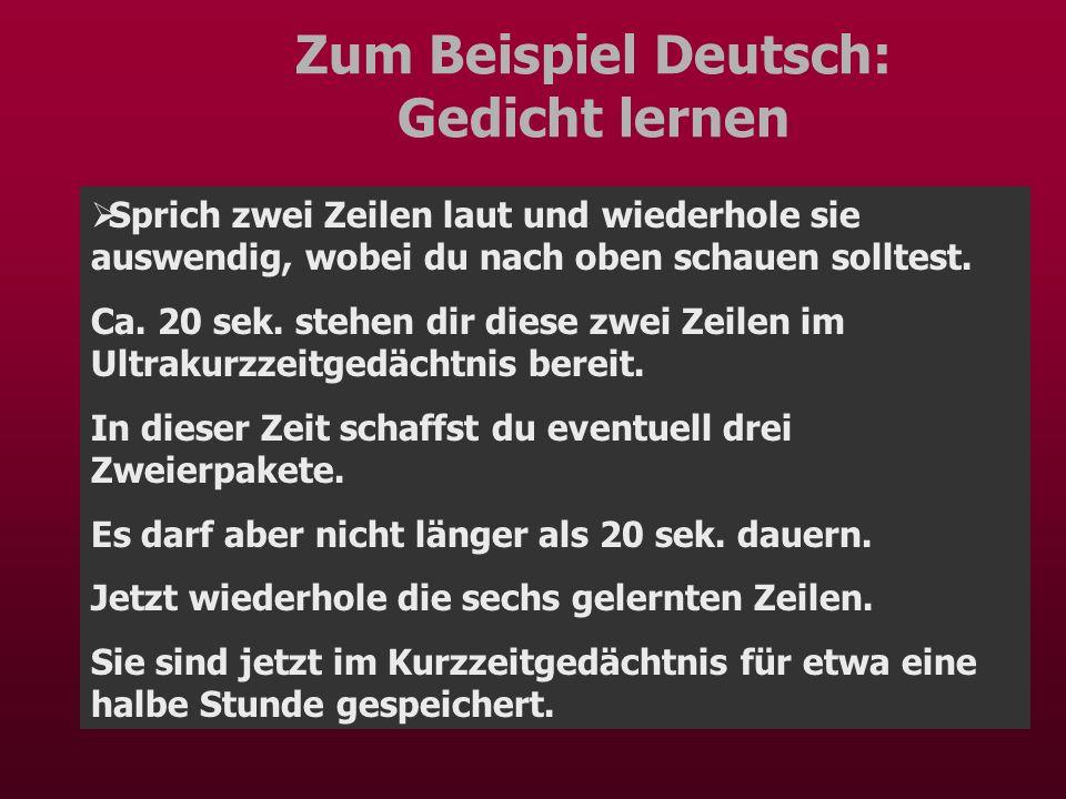 Zum Beispiel Deutsch: Gedicht lernen