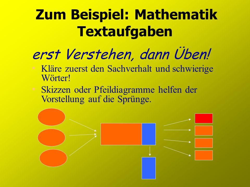 Zum Beispiel: Mathematik Textaufgaben