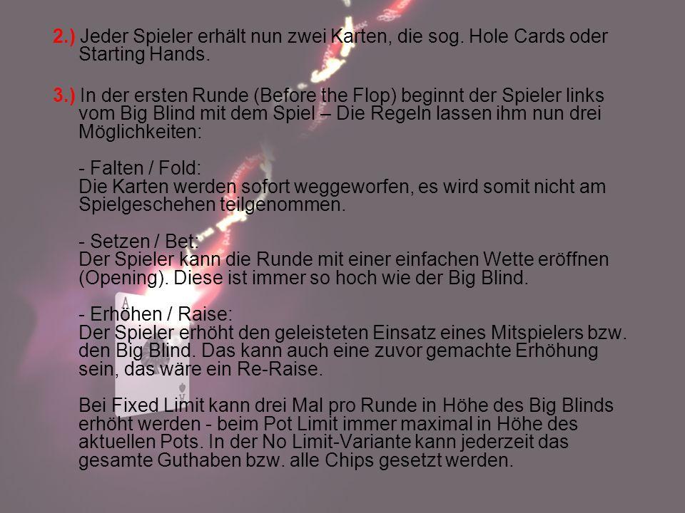 2. ) Jeder Spieler erhält nun zwei Karten, die sog