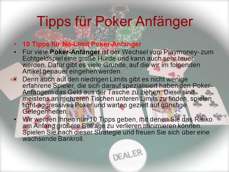 Tipps für Poker Anfänger