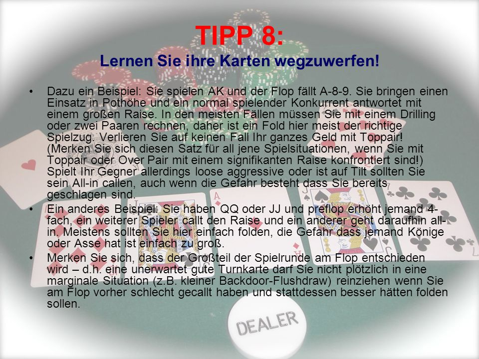 TIPP 8: Lernen Sie ihre Karten wegzuwerfen!