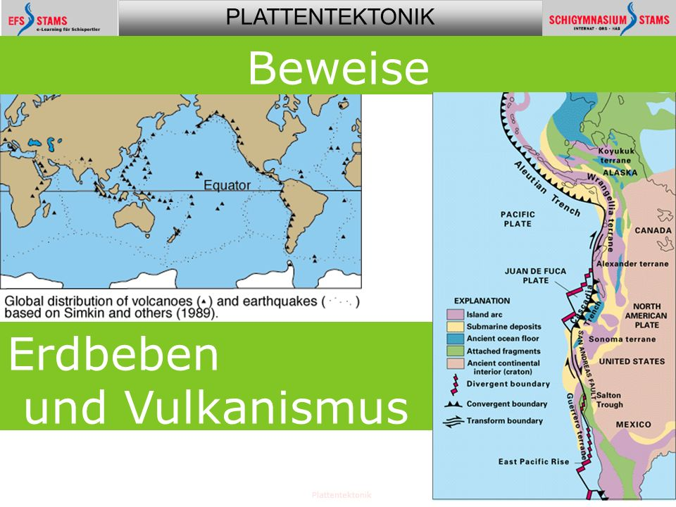 Verteilung von Erdbeben und Vulkanismus
