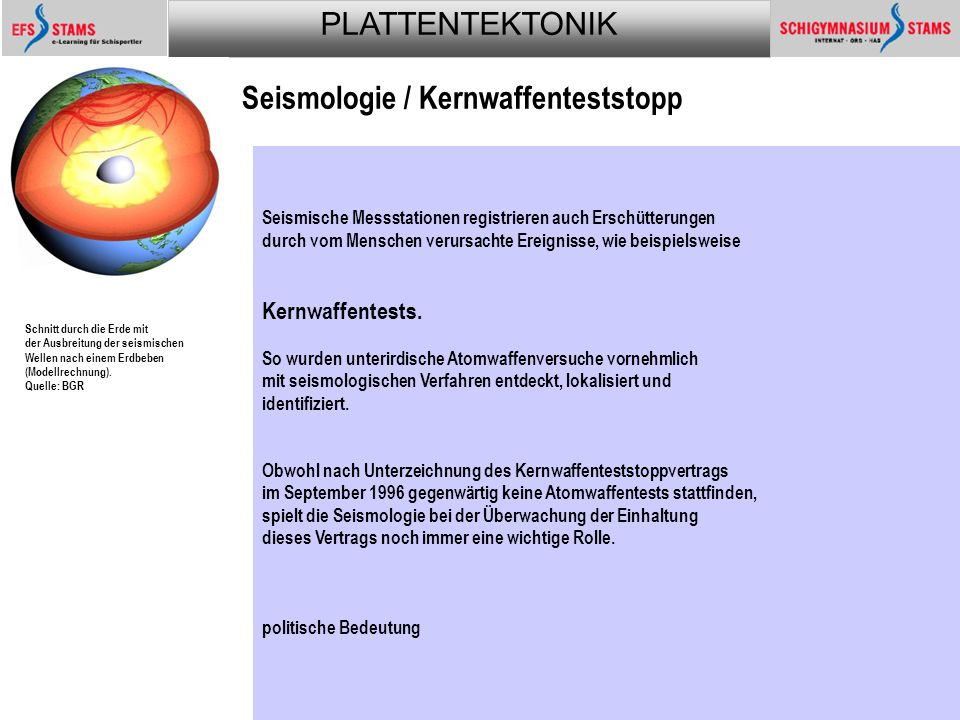 Seismologie / Kernwaffenteststopp