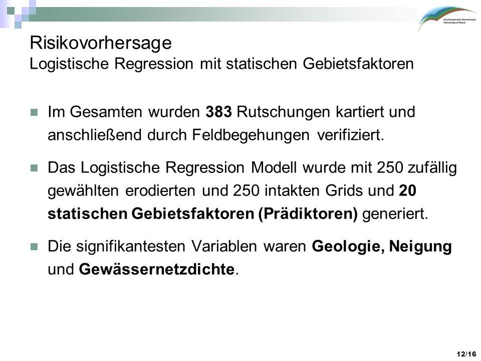 Risikovorhersage Logistische Regression mit statischen Gebietsfaktoren