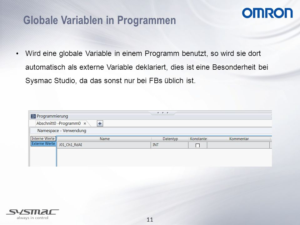 Globale Variablen in Programmen