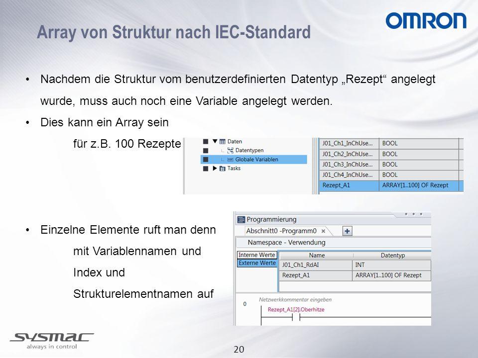 Array von Struktur nach IEC-Standard