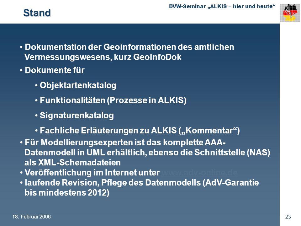 Stand Dokumentation der Geoinformationen des amtlichen