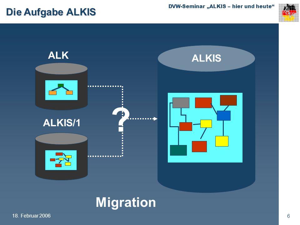 Die Aufgabe ALKIS ALKIS/1 ALK ALKIS Migration 18. Februar 2006