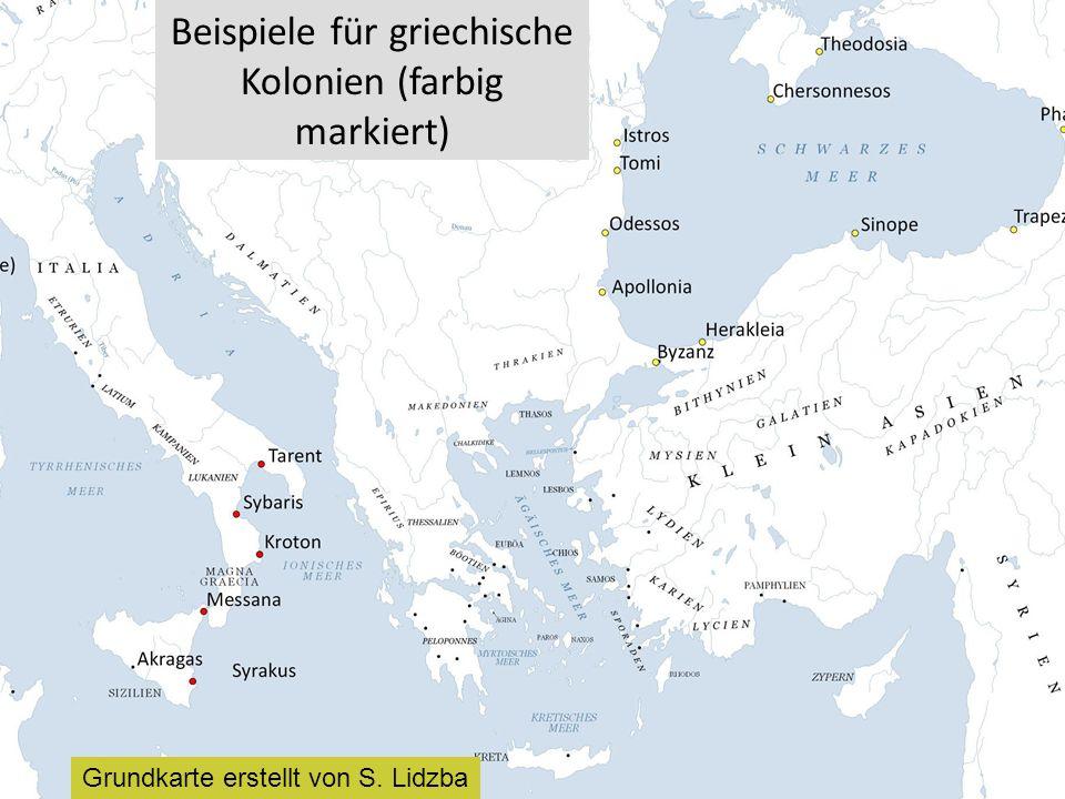 Beispiele für griechische Kolonien (farbig markiert)