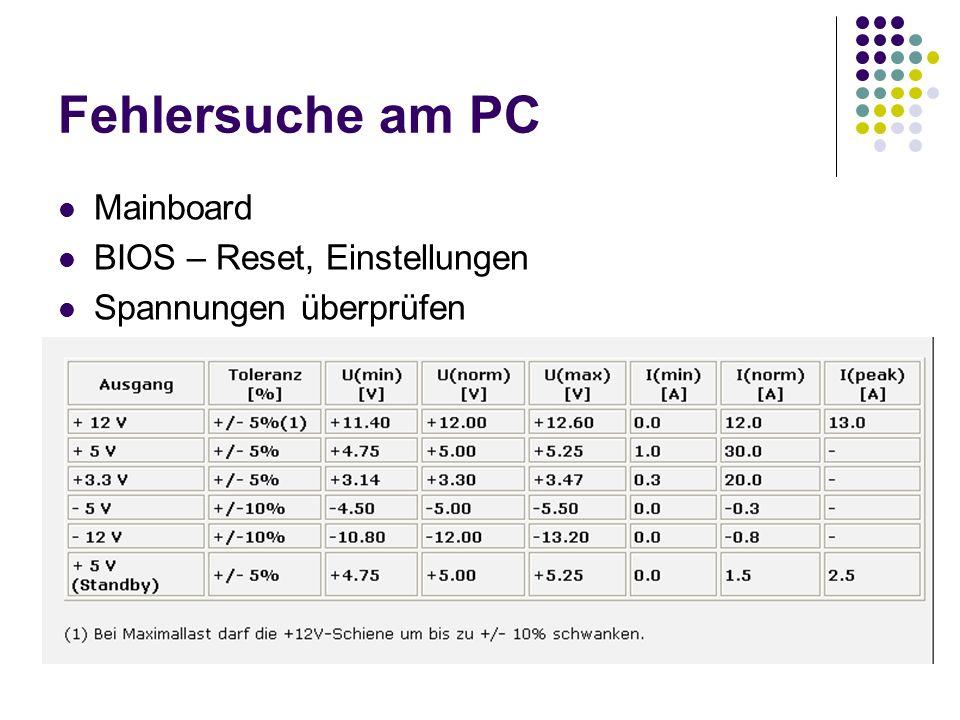 Fehlersuche am PC Mainboard BIOS – Reset, Einstellungen