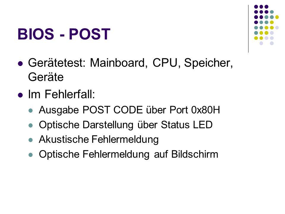 BIOS - POST Gerätetest: Mainboard, CPU, Speicher, Geräte