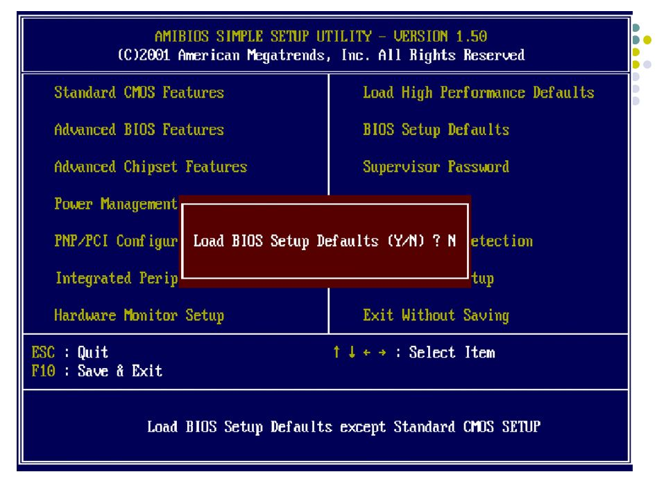Integrated Peripherals Hardware Monitor Setup Load BIOS Setup Defaults