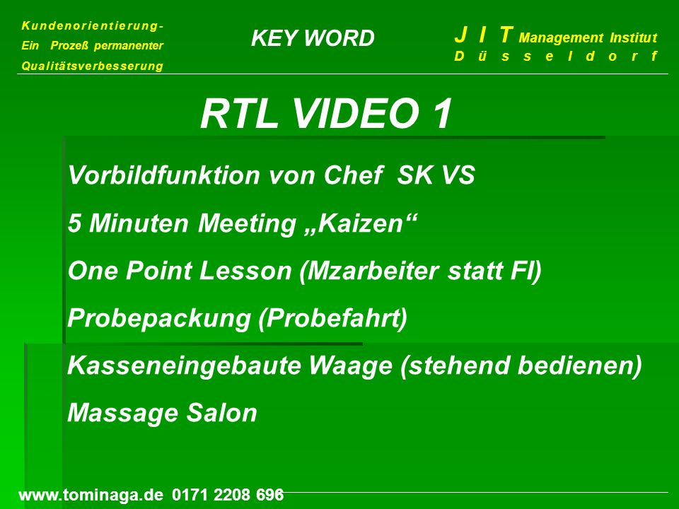 "RTL VIDEO 1 Vorbildfunktion von Chef SK VS 5 Minuten Meeting ""Kaizen"