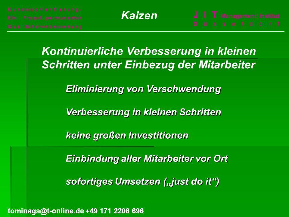 Kundenorientierung- Ein Prozeß permanenter. Qualitätsverbesserung. Kaizen. J I T Management Institut Düsseldorf.