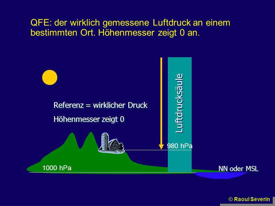 QFE: der wirklich gemessene Luftdruck an einem bestimmten Ort