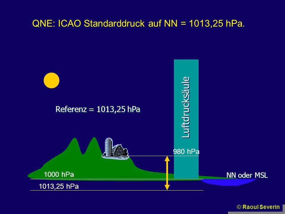 QNE: ICAO Standarddruck auf NN = 1013,25 hPa.