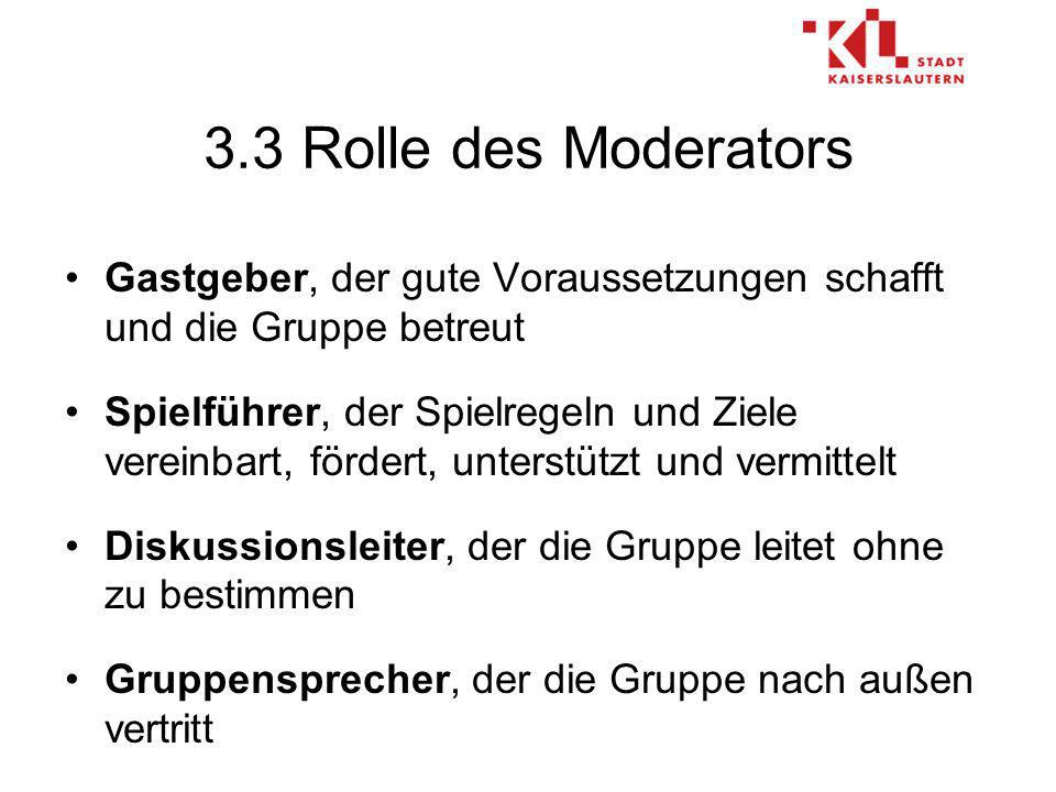 3.3 Rolle des Moderators Gastgeber, der gute Voraussetzungen schafft und die Gruppe betreut.