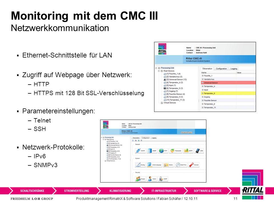 Monitoring mit dem CMC III Netzwerkkommunikation