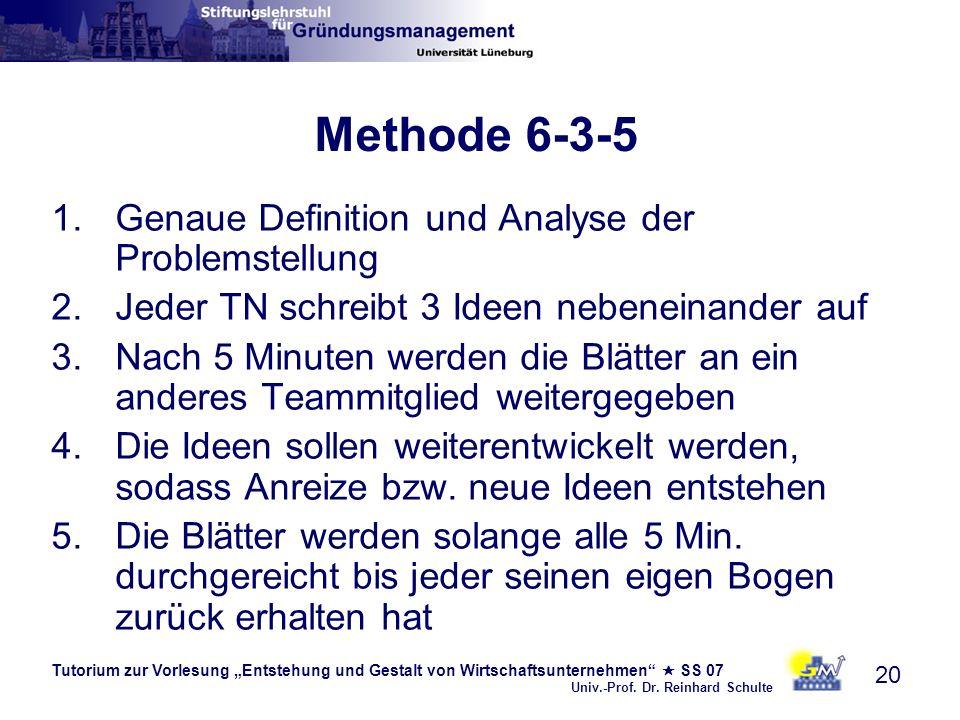 Methode 6-3-5 Genaue Definition und Analyse der Problemstellung