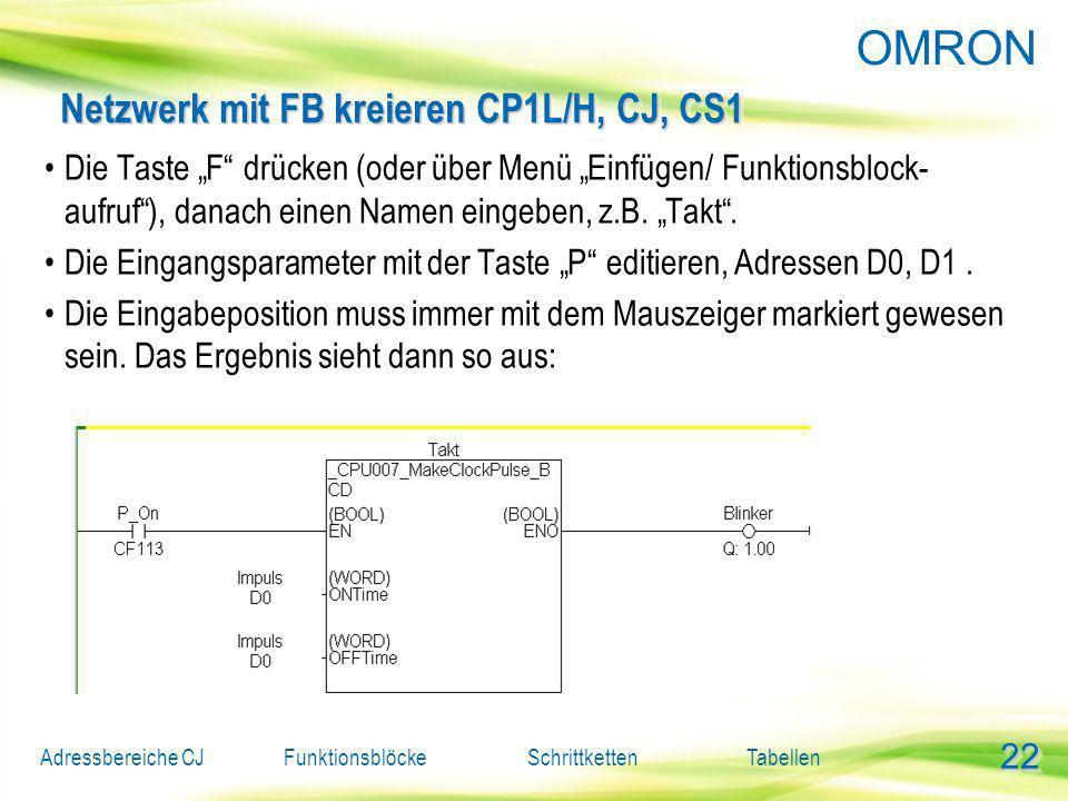 Netzwerk mit FB kreieren CP1L/H, CJ, CS1