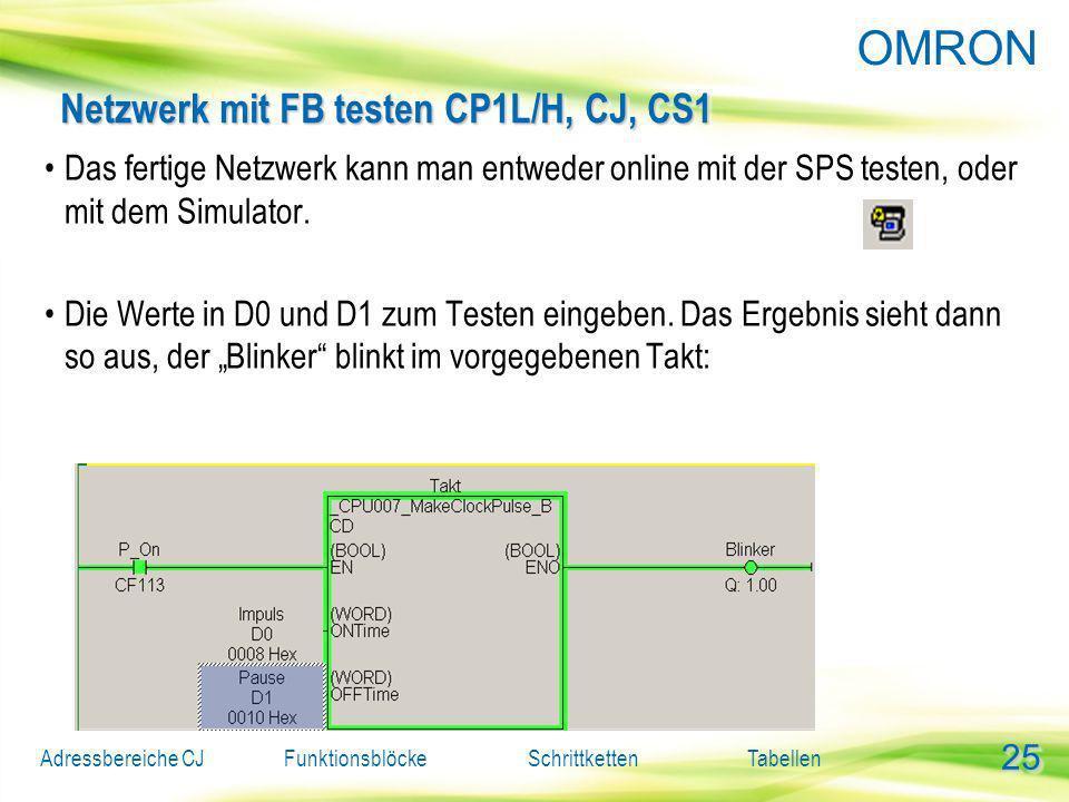 Netzwerk mit FB testen CP1L/H, CJ, CS1