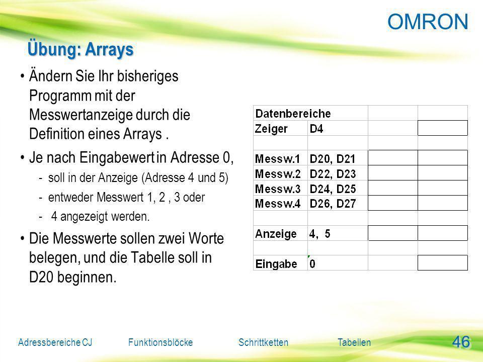 Übung: Arrays Ändern Sie Ihr bisheriges Programm mit der Messwertanzeige durch die Definition eines Arrays .