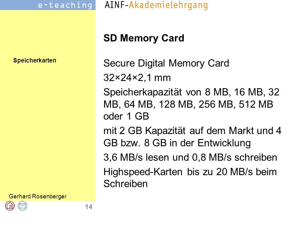 SD Memory Card Secure Digital Memory Card. 32×24×2,1 mm. Speicherkapazität von 8 MB, 16 MB, 32 MB, 64 MB, 128 MB, 256 MB, 512 MB oder 1 GB.