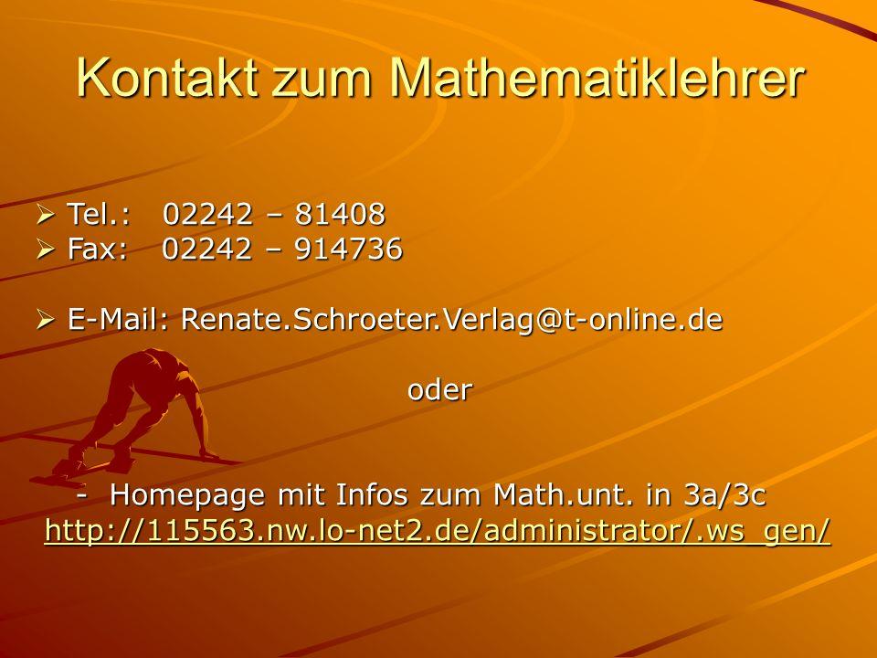 Kontakt zum Mathematiklehrer