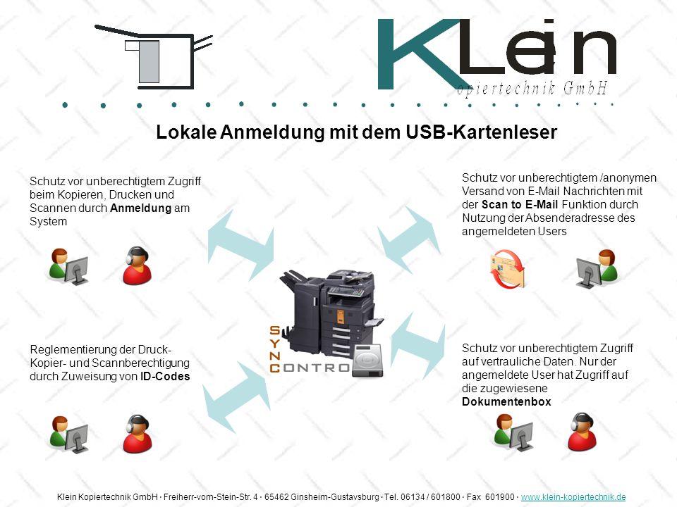 Lokale Anmeldung mit dem USB-Kartenleser