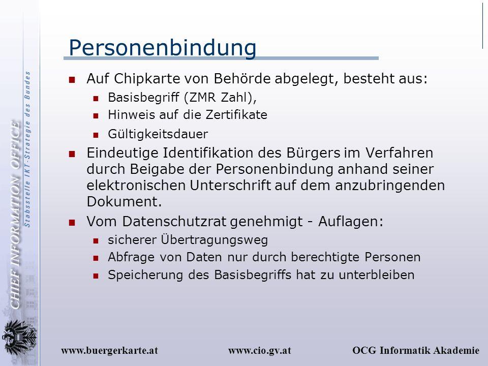 Personenbindung Auf Chipkarte von Behörde abgelegt, besteht aus: